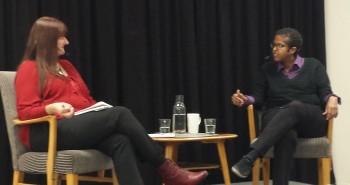 Trude Brænne Larssen i samtale med Amal Aden, Horten bibliotek 12.10.2015